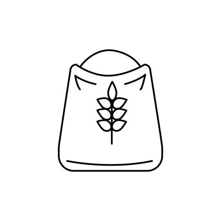 小麦粉ベクトル線アイコン、記号、白い背景に、編集可能なストロークの図