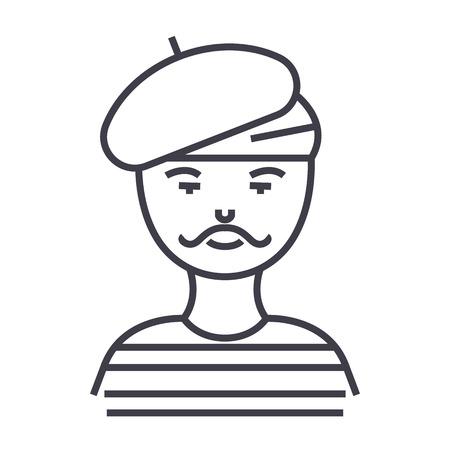 homem francês, artista, ícone de linha vector mímica, sinal, ilustração em fundo branco, traços editáveis