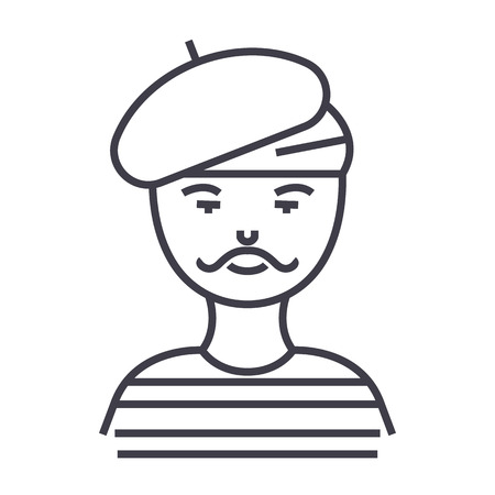 french man,artist,mime vector line icon, sign, illustration on white background, editable strokes