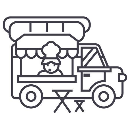 フード トラック、ストリート モバイル キッチン ベクトル線アイコン、記号、白い背景に、編集可能なストロークの図