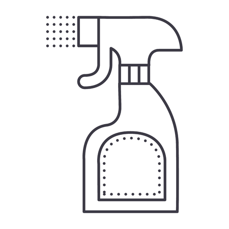 foggy spray bottle vector line icon, sign, illustration on white background, editable strokes 向量圖像