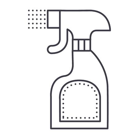 foggy spray bottle vector line icon, sign, illustration on white background, editable strokes Illustration