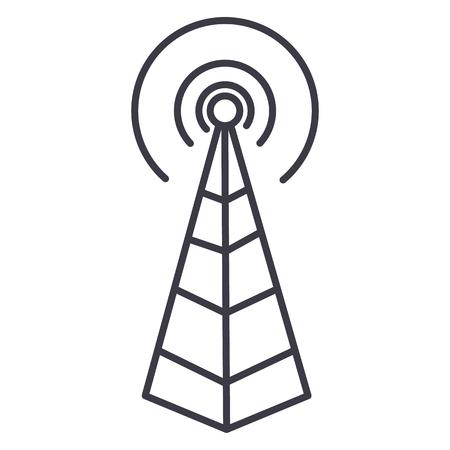 Antenne de fréquence, icône de ligne vectorielle tour radio, signe, illustration sur fond blanc, traits modifiables Banque d'images - 87222212