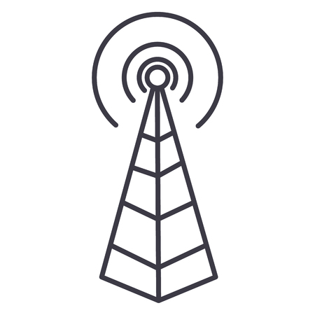frequency antenna,radio tower vector line icon, sign, illustration on white background, editable strokes Illustration