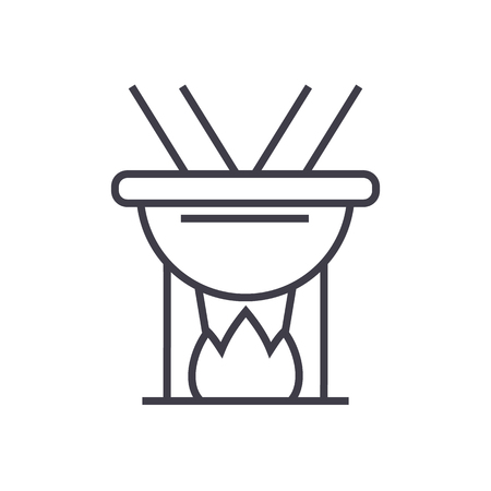 fondue vector line icon, sign, illustration on white background, editable strokes