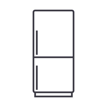 koelkast, refridgirator vector lijn pictogram, teken, illustratie op witte achtergrond, bewerkbare lijnen