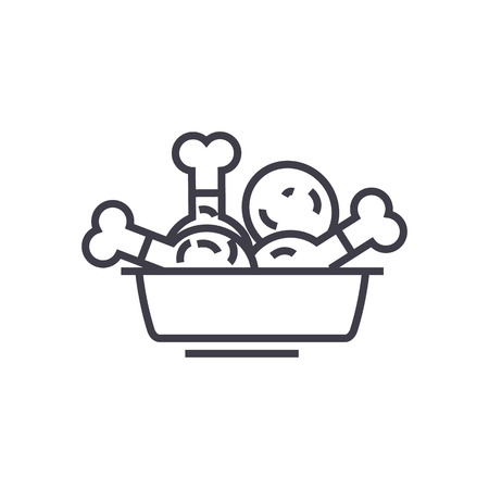 フライド チキン、食事ベクトル線アイコン、記号、白い背景に、編集可能なストロークの図