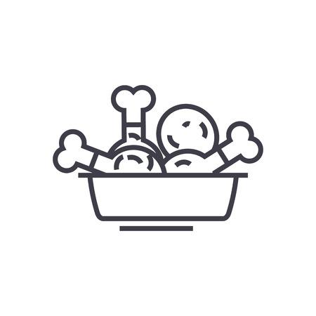 튀긴 된 닭고기, 식사 벡터 라인 아이콘, 기호, 흰색 배경에 그림 편집 가능한 획