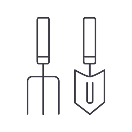 forks, mini trowel  vector line icon, sign, illustration on white background, editable strokes