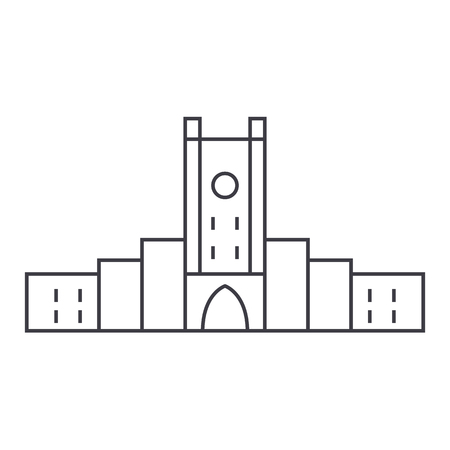 fortress vector line icon, sign, illustration on white background, editable strokes