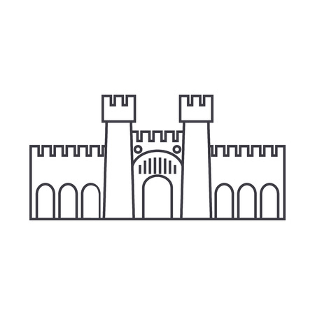 fortress illustration vector line icon, sign, illustration on white background, editable strokes