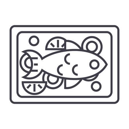 튀긴 된 물고기 벡터 라인 아이콘, 기호, 흰색 배경에 그림 편집 가능한 획