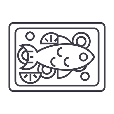 fried fish vector line icon, sign, illustration on white background, editable strokes Çizim