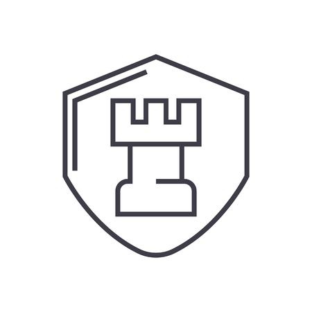 fortress, castle shield vector line icon, sign, illustration on white background, editable strokes