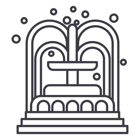 fountain vector line icon, sign, illustration on white background, editable strokes