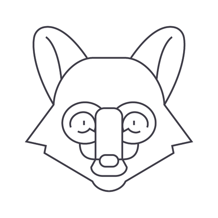 silueta de gato: fox head vector line icon, sign, illustration on white background, editable strokes