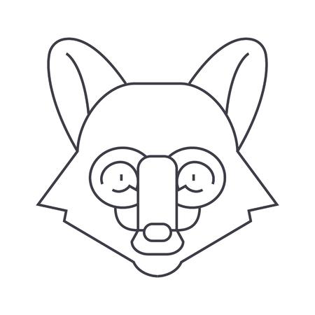 fox head vector line icon, sign, illustration on white background, editable strokes