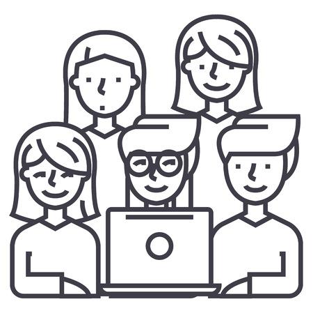 vrienden kijken naar laptop vector lijn pictogram, teken, illustratie op witte achtergrond, bewerkbare lijnen