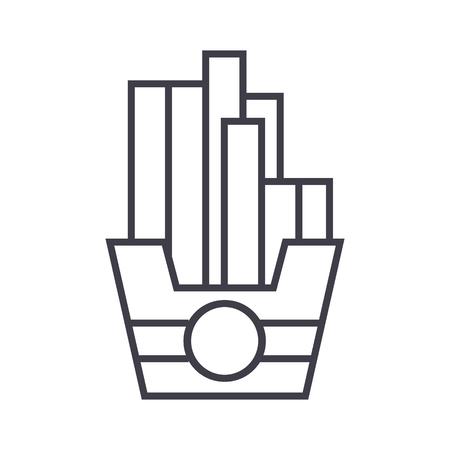 fries vector line icon, sign, illustration on white background, editable strokes Иллюстрация