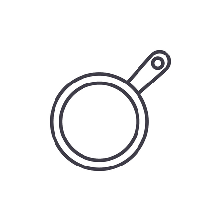 frying pan vector line icon, sign, illustration on white background, editable strokes
