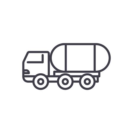 brandstof truck vector lijn pictogram, teken, illustratie op witte achtergrond, bewerkbare lijnen