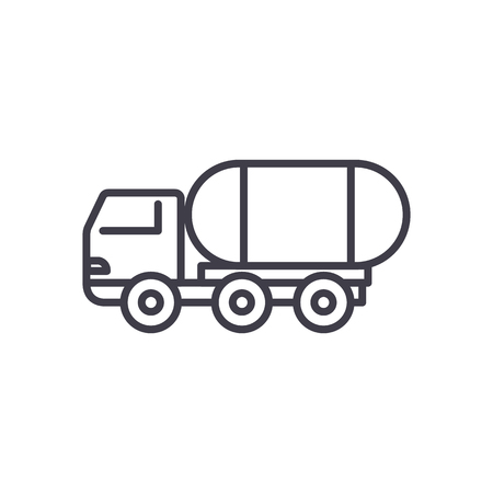 fuel truck vector line icon, sign, illustration on white background, editable strokes Imagens - 87222240