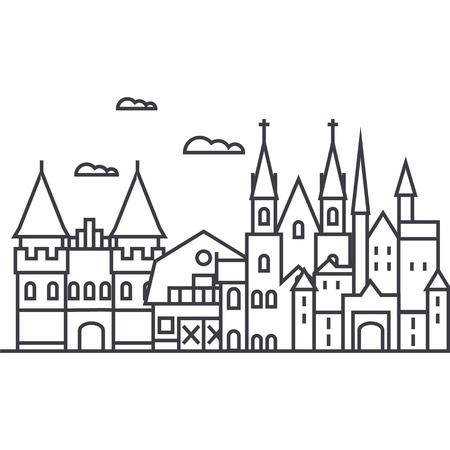 germany castles vector line icon, sign, illustration on white background, editable strokes Illustration