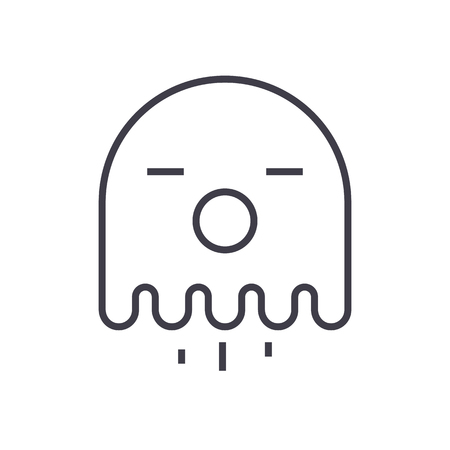 ghost vector line icon, sign, illustration on white background, editable strokes