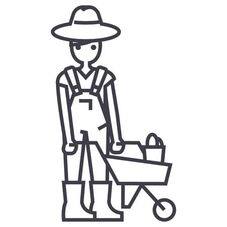 gardener man with wheelbarrow vector line icon, sign, illustration on white background, editable strokes Stock Vector - 87222258