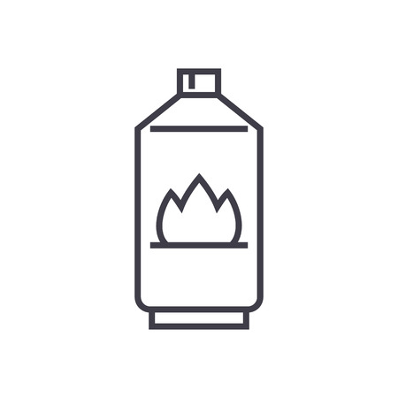 Gas vector line icon, sign, illustration on white background, editable strokes.