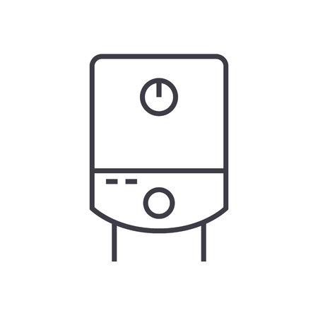 Gas tank, water boiler vector line icon, sign, illustration on white background, editable strokes.
