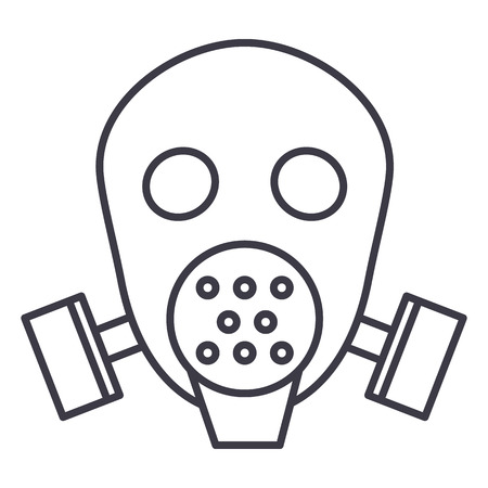 Gas mask respirator  vector line icon, sign, illustration on white background.