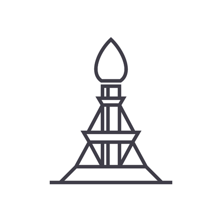 natural gas production: Gas rig vector line icon, sign, illustration on white background, editable strokes. Illustration