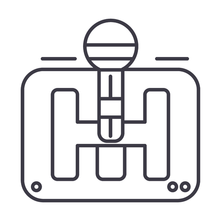 Gear stick vector line icon, sign, illustration on white background.