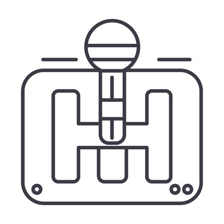 Versnelling stok vector lijn pictogram, teken, illustratie op witte achtergrond. Stock Illustratie