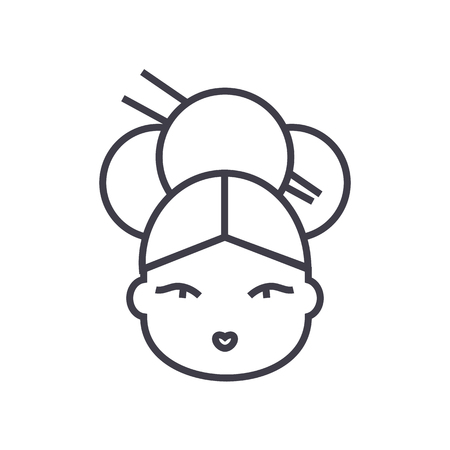Geisha vector line icon, sign, illustration on white background, editable strokes. Иллюстрация