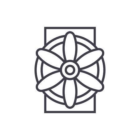 Generator vector line icon, sign, illustration on white background, editable strokes