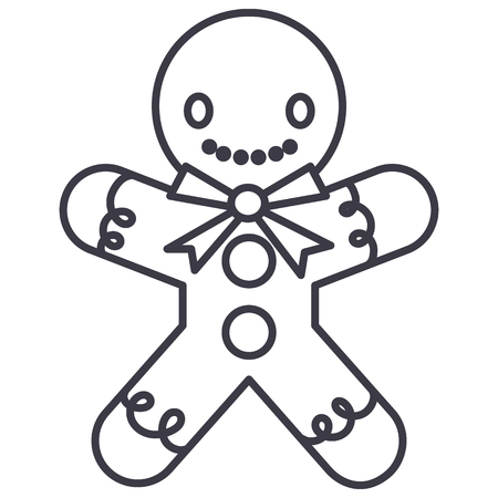 Gingerman vector line icon, sign, illustration on white background.