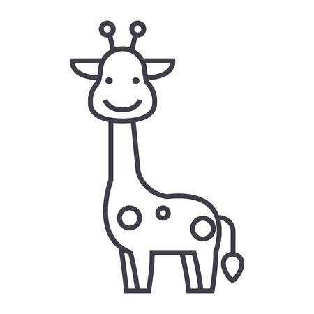 Icona della linea di vettore della giraffa, segno, illustrazione su fondo bianco. Archivio Fotografico - 87222277
