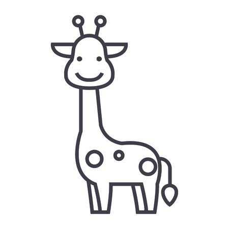 Giraffe vector line icon, sign, illustration on white background. Vectores