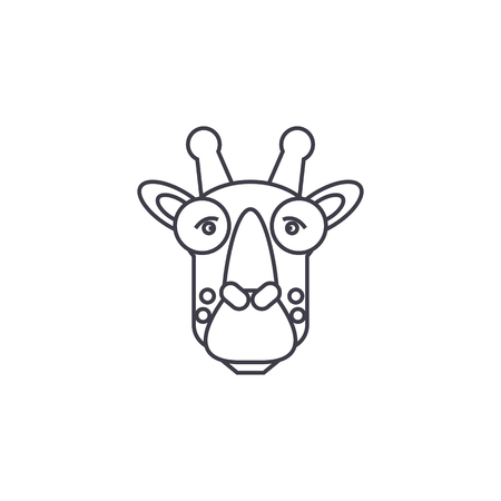 Hoofd vectorpictogram van de giraf het hoofd, teken, illustratie op witte achtergrond.