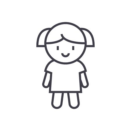 소녀 인형 벡터 라인 아이콘, 기호, 흰색 배경에 그림. 일러스트
