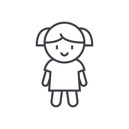 Girl doll vector line icon, sign, illustration on white background.