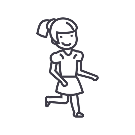 Girl running vector line icon, sign, illustration on white background, editable strokes.