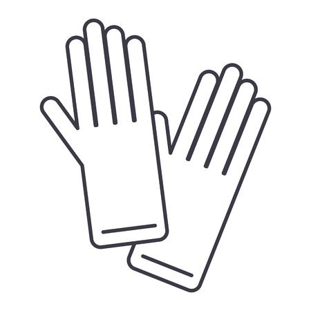 Gloves vector line icon, sign, illustration on white background.