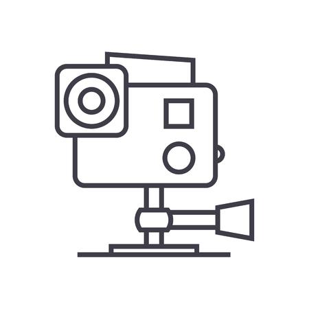 ビデオ カメラ ベクトル線アイコン、記号、白い背景の上の図。