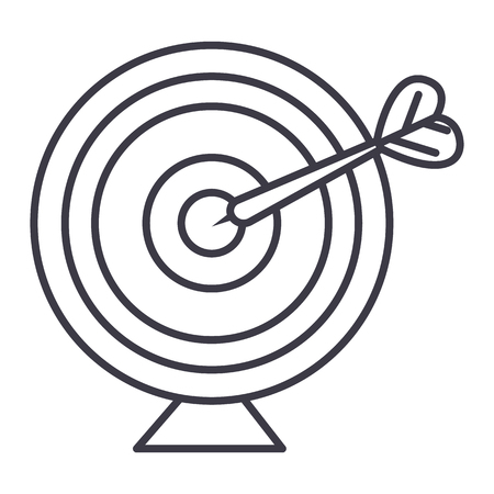 Goal target with arrow vector line icon, sign, illustration on white background.