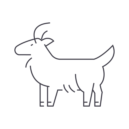 Goat vector line icon, sign, illustration on white background. Ilustração