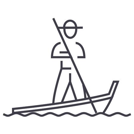 Góndola, icono de línea de vector de Venecia, signo, ilustración sobre fondo blanco. Foto de archivo - 87222305