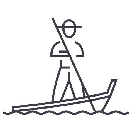 Gondola, Venice vector line icon, sign, illustration on white background. Иллюстрация